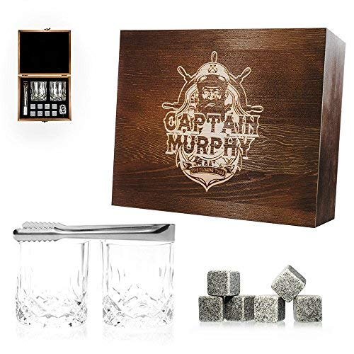 (Premium Whiskey Gift Set - 8 Granite Chilling Stones / 2 Large 7 oz. Drinking Glass/Ice Tongs/Handcrafted Wooden Case/A Perfect Graduation Gift for Him - by Captain Murphy (Aged Oak))