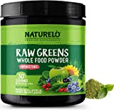 NATURELO Raw Greens Superfood Powder - UNSWEETENED - Boost Energy, Detox, Enhance Health