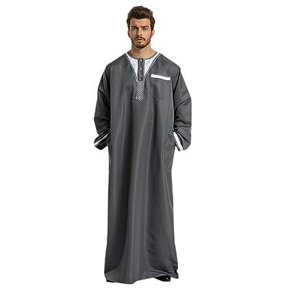 8911d8370f30d Buy aliveGOT Long Sleeve Solid Saudi Arab Thobe Islamic Muslim Dubai ...