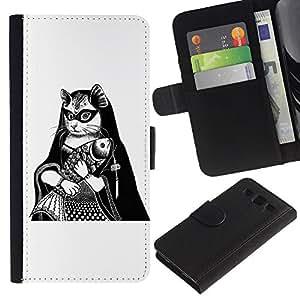 ARTCO Cases - Samsung Galaxy S3 III I9300 - Cute Cat Mona Lisa Illustration - Cuero PU Delgado caso Billetera cubierta Shell Armor Funda Case Cover Wallet Credit Card