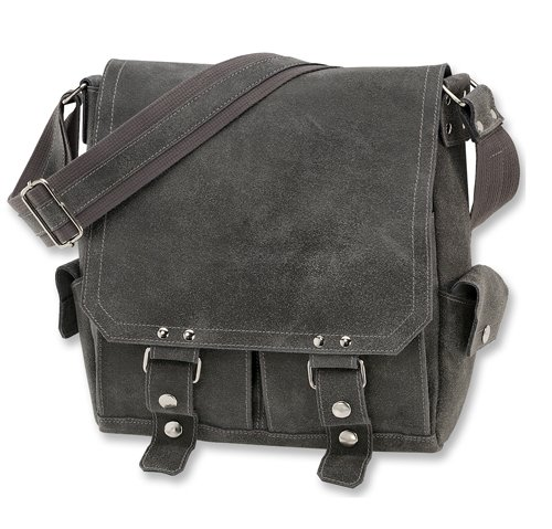 David King & Co. Leather Vertical Letter Size Messenger Distressed, Grey, One ()