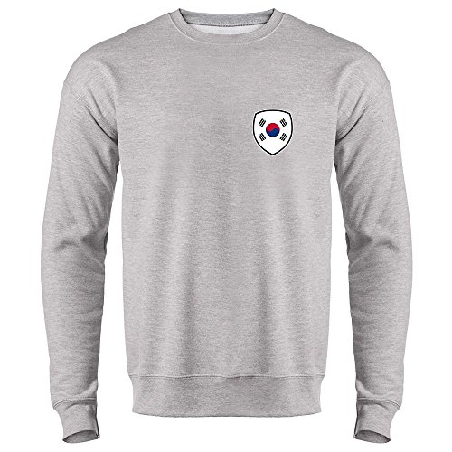 South Korea Soccer Retro National Team Heather Gray M Mens Fleece Crew Neck Sweatshirt