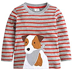 Popshion Toddler Shirts Long Sleeve Boys T-Shirt Crewneck Cotton Cartoon Tops Tees Shirts 1-7T Puppy 3T