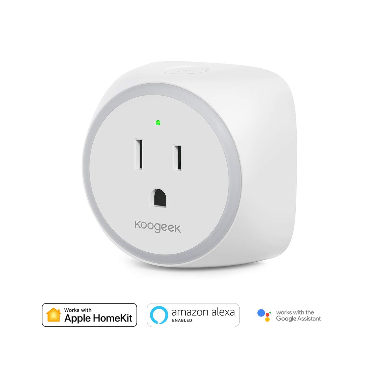 Smart WiFi Plug, Koogeek WiFi Outlet Mini Socket Works with Apple HomeKit, Amazon Alexa and Google Assistant for iOS and Android Devices Remote Control