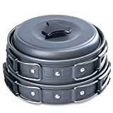 Outdoor Campfire Cookware Cooking Picnic 8pcs Bowl Pot Pan Set, Lightweight Durable Cooking Kit for Camping, Hiking