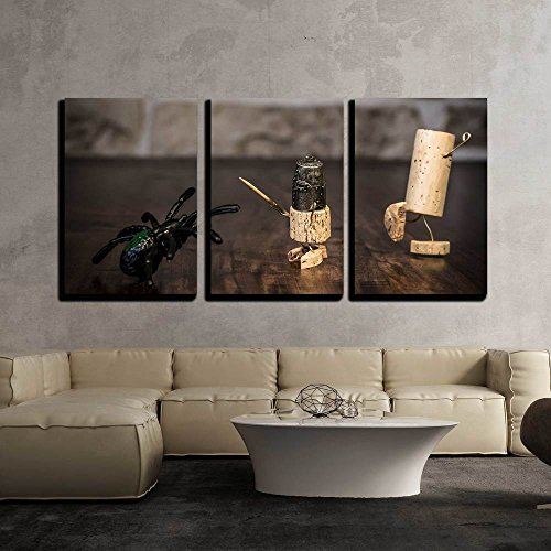 - wall26 - 3 Piece Canvas Wall Art - Concept Bravery Knight with Spider, Wine Cork Figures - Modern Home Decor Stretched and Framed Ready to Hang - 16