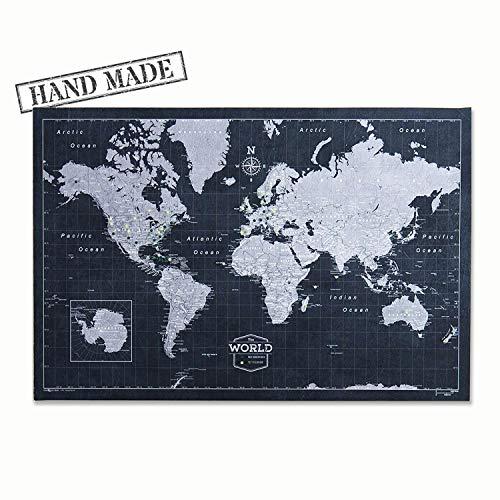 Push Pin World Map Board - With Push Pins to Mark World Travel - Handmade in Ohio, USA - Design: Modern Slate (Pin World Map)
