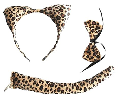 Leopard Animal Set - Ears, Tail & Bow (Leopard Ears And Tail Set Halloween)