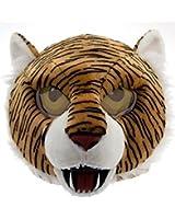#Maskimals Panda Bear Maskimal Plush Head Plush Halloween Blue Shark, Sloth Plush Furry Head Maskimal Oversized Plush Halloween Mask White Unicorn Rainbow Tiger Head (Tiger)