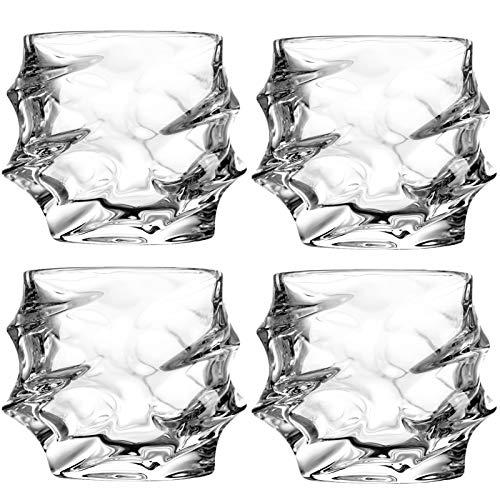 Unique Whiskey Glasses, Set of 4, 11 oz, Premium Scotch Glasses, Bourbon Glasses for Cocktails, Rock Style Old Fashioned…