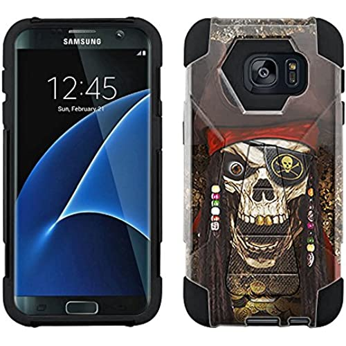 Samsung Galaxy S7 Hybrid Case Pirate Skull on Black 2 Piece Style Silicone Case Cover with Stand for Samsung Galaxy S7 Sales