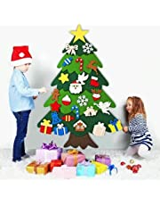 Australove DIY Felt Christmas Tree with 20 LED Lights,32pcs Ornaments Christmas Window Door Wall Hanging Decorations, Xmas Gifts for Kids New Year Handmade Christmas Door Wall Hanging Decorations(32pcs) (Angel with Lamp)