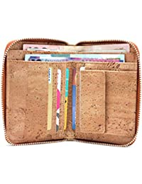 Fashion Cork Wallet Zipper Around Design Bifold Purse Wallet with Coin Pocket Holder Eco Friendly Vegan