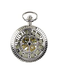 PACIFISTOR Unisex Luminous Dial Hand Winding Up Skeleton Mechanical Silver Analog Pocket Watch Fob Chain