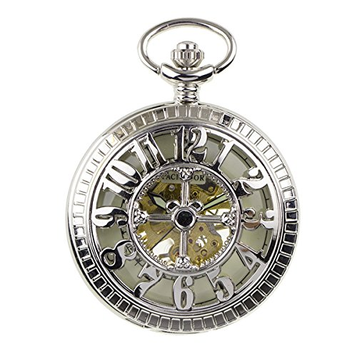 [PACIFISTOR Unisex Luminous Hand Wind Up Skeleton Mechanical Silver Analog Pocket Watch with Fob] (Man Of The Nights Watch Costume)