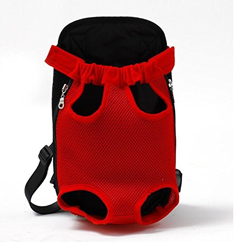 CWYPB Built-In Fibbia Di Sicurezza Può Regolare Maglia Panno Pet Bag Traspirante Viaggio Pet Doppia Spalla Petto Bag PET Out Doppia Spalla Borsa Cane Zaino PET Forniture,Red,XL