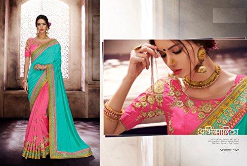 Frauen Saree Hochzeitsstickerei bollywood kulturelle Parteikleiden designer ethnische seta indische der Traditionelle der 860 Bluse kleiden wHgqEn