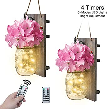 VIEFIN Mason Jar Sconces Wall Decor,Rustic Wall Sconces Home Decor with Remote Control, Silk Hydrangea,Gray Wood Board and LED Strip with 20 Fairy Lights(2 Pack, Pink)