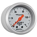 "Auto Meter (4302) Ultra-Lite 2-1/16"" 0-15 PSI Mechanical Boost Gauge"