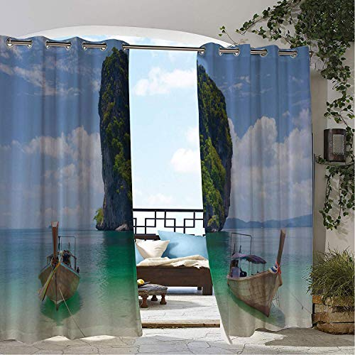 Waterproof Curtains Thai Calming and Relaxing Coastal Scenery View KOH Phi Phi Island Cliffs and Vertical Rocks Multicolor Porch Grommet Patterned Curtain 120 by 72 inch ()