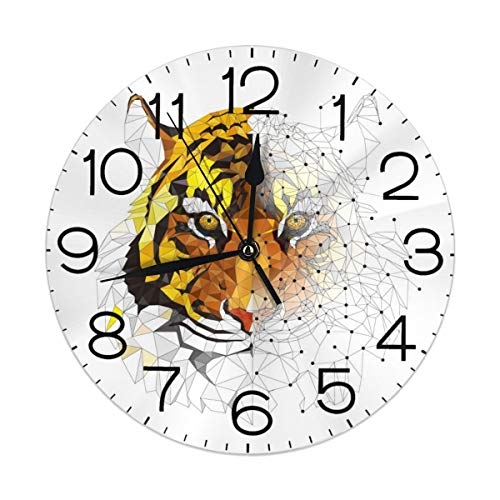 Huanglan Art Tiger Round Wall Clock Decorative 9.5 Inch Battery Operated Quartz Analog Quiet Desk Clock for Student Home Office School