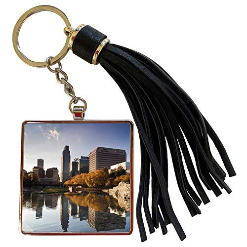 3dRose Danita Delimont - Walter Bibikow - Nebraska - USA, Nebraska, Omaha, Gene Leahy Mall, skyline, late afternoon - Tassel Key Chain ()