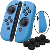 YoRHa Hand grip Silicone Cover Skin Case x 2 for Nintendo Switch/NS/NX Joy-Con controller (blue) With Joy-Con thumb grips x 8