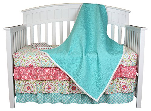 Gia Aqua Quilted Coverlet 4-in-1 Baby Girl Crib Bedding Set by The Peanut Shell (Crib Bedding Pink And Aqua)