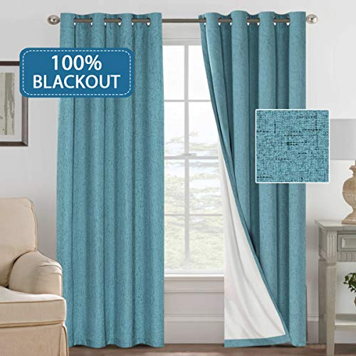 H.VERSAILTEX 100% Blackout Curtains for Bedroom Linen Look Lined Curtains for Living Room Anti Rust Grommet Window Curtains 2 Panels (52 by 96 - Inch, Teal) (Teal Curtains Lined)