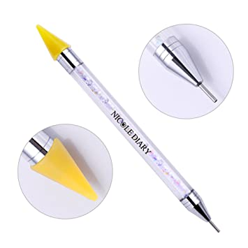 NICOLE DIARY Wax Nail Rhinestones Gems Picker Pen Dual-ended Nail Studs Dotting Pen Crystal