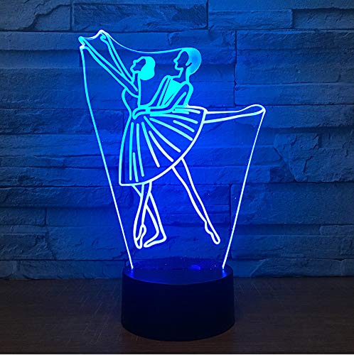 kkkmb 3D Night Light New Creative Duet Bedroom Decorative Touch Multicolored Variable Lamp 3D Visual Lamp Multicolored Touch Bluetooth Audio