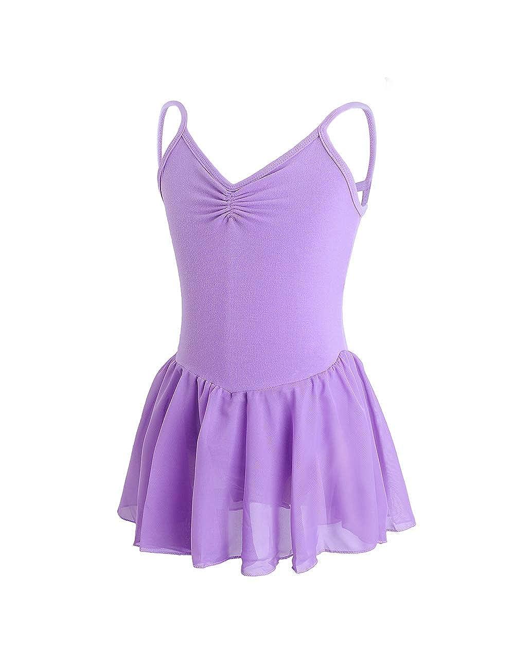 Skirted Leotards Girls Short Sleeve Leotard Dress for Ballet,Dance 2-14T