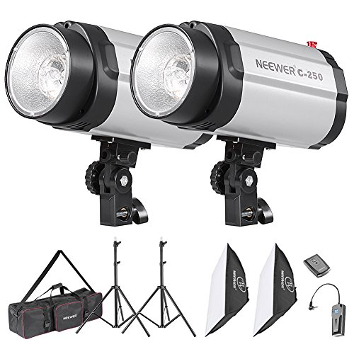 Neewer Photo Studio Strobe Flash Light and Softbox Lighting Kit:(2)250W Monolight Flash,(2)Light Stands,(2)Softbox,(1)RT-16 Wireless Trigger,(1)Bag for Video Shooting,Location and Portrait Photography by Neewer