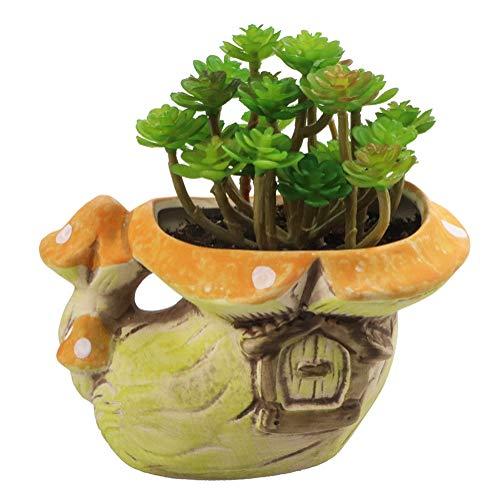 Tiny Succulent Planter Flower Pot Indoor Ceramic Mushroom for Home Office Garden Decor