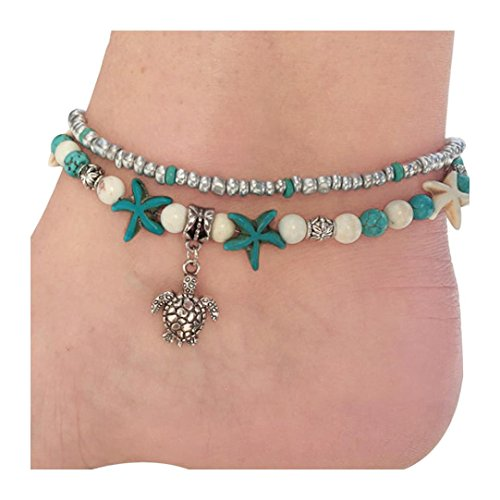 kaifongfu Foot Chain Double Turtle Sea Snail Sea Star Yoga Beach Foot Chain Bracelet (Multicolor) - Double Strand Diamond 14k Clasp