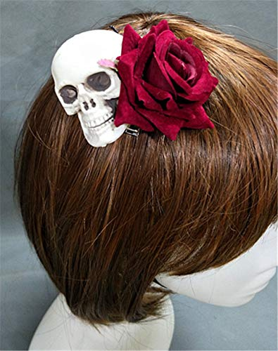 Vintage Gothic Steampunk Skull Rose Hairpin Hair Clip Headwear Lolita Skeleton Halloween costume party Accessories -