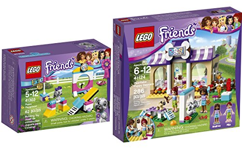 LEGO Friends Heartlake Puppy Daycare 41124 & LEGO Friends Puppy Playground 41303 Kit animal edition Building Set