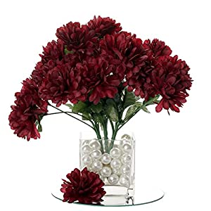 BalsaCircle 84 Burgundy Silk Chrysanthemums – 12 Bushes – Artificial Flowers Wedding Party Centerpieces Arrangements Bouquets Supplies