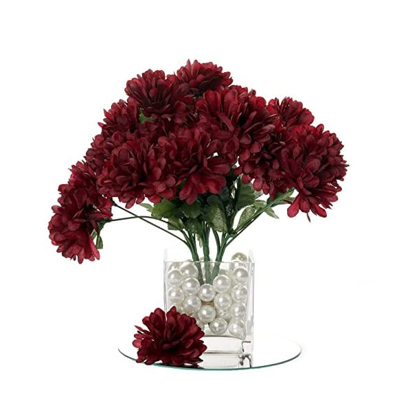 BalsaCircle 84 Burgundy Silk Chrysanthemums – 12 Bushes – Artificial Flowers Wedding Party Centerpieces Arrangements Bouquets Supplies