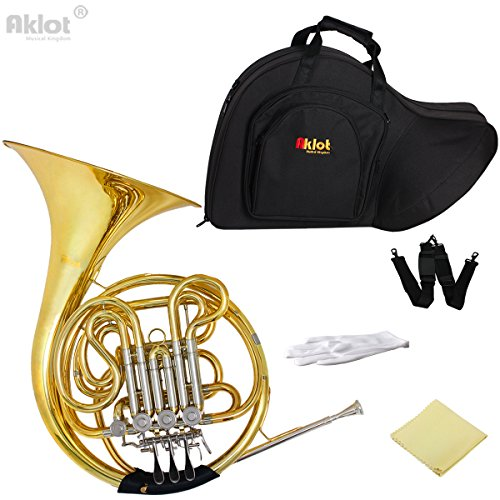 AKLOT Double French Horn Bb F 4 Key Cupronickel Tuning Pipe Gold With Case for Professional Music Grading Play and Orchestra by AKLOT