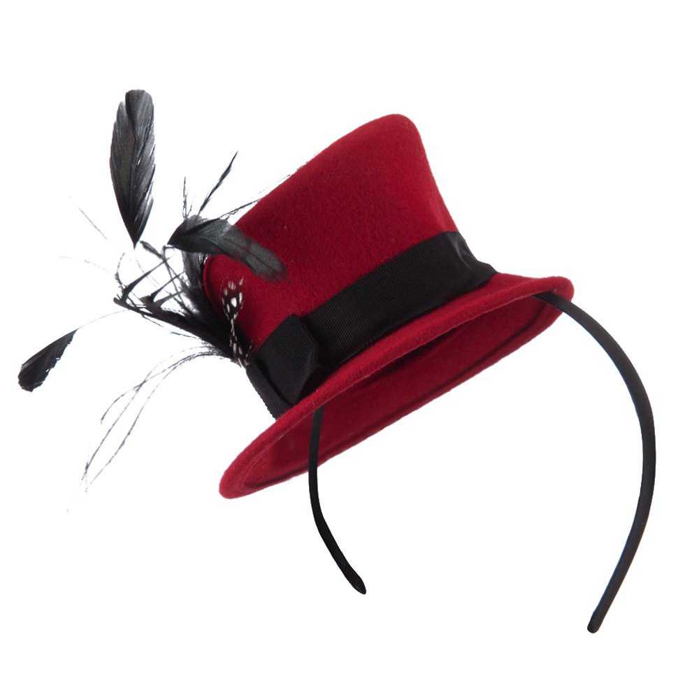 Mini Top Hat Feather Fascinator Headband with Black Band - Red OSFM