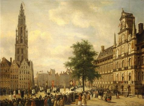 The Perfect Effect Canvas Of Oil Painting 'Jean Michel Ruyten - Procession On The Grand Place Of Antwerp, 19th Century' ,size: 8x11 Inch / 20x28 Cm ,this High Resolution Art Decorative Prints On Canvas Is Fit For Garage Decoration And Home Decor And Gifts