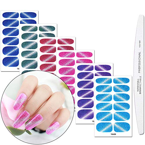 WOKOTO 6 Sheets Adhesive Nail Art Polish Stickers With 1Pcs Nail File Cat Eye Gradient shine Full Wraps Nail Decals Strips Manicure Kits For Women