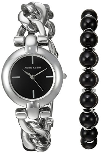 Anne Klein Women's Quartz Metal and Alloy Dress Watch, Color:Silver-Toned (Model: AK/2837ONYX)
