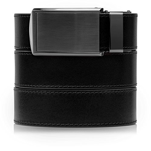 - SlideBelts Full Grain Leather Belt (Onyx Black with Gunmetal Buckle, One Size)