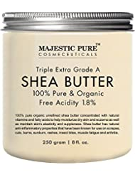 Majestic Pure Shea Butter, Natural Skin Care, Organic Virgin Cold-Pressed Raw Unrefined Premium Grade from Ghana - 8 oz