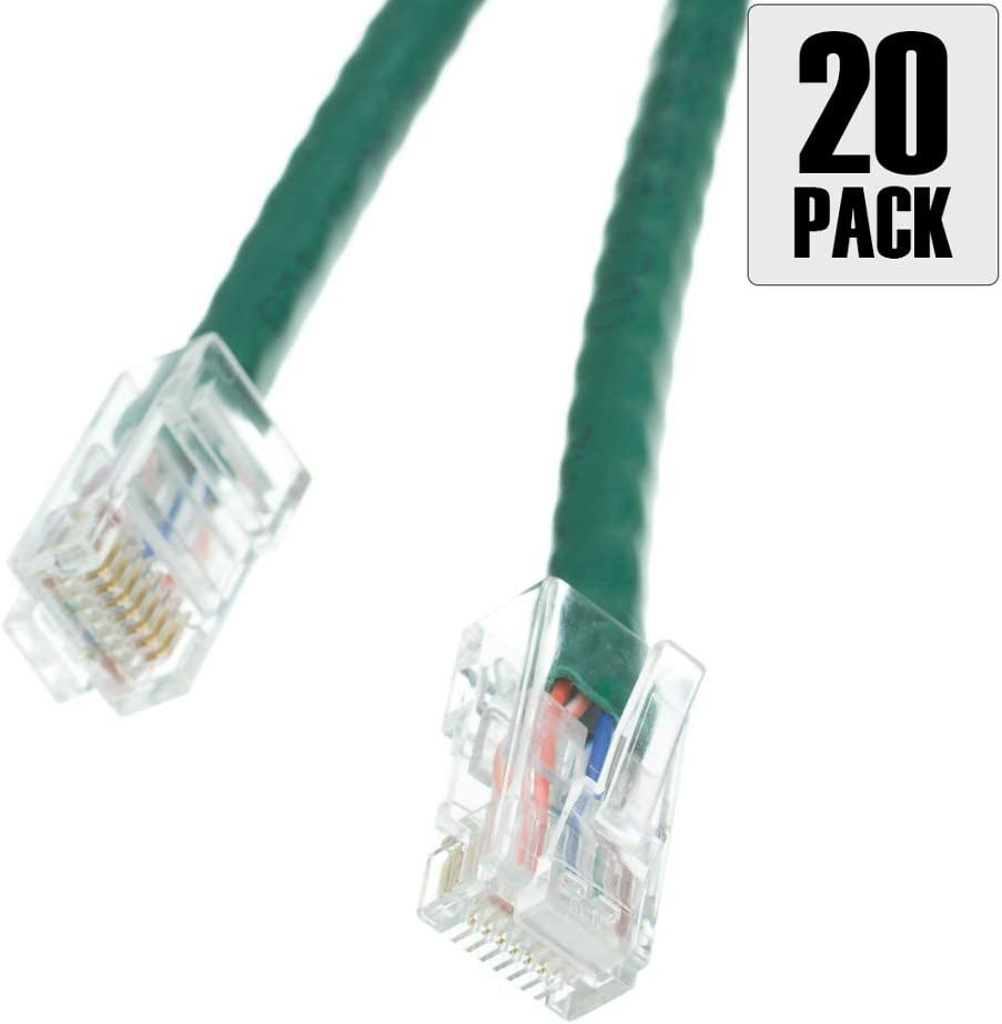 3 Foot Bootless Pack of 20 Konnekta Cable Cat6 Green Ethernet Patch Cable