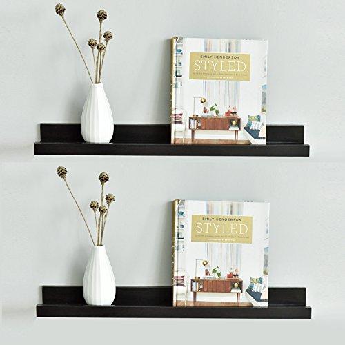Ledge Floating Wall Shelf, 24-inch, Set of 2, Espresso (2 Shelf Set)