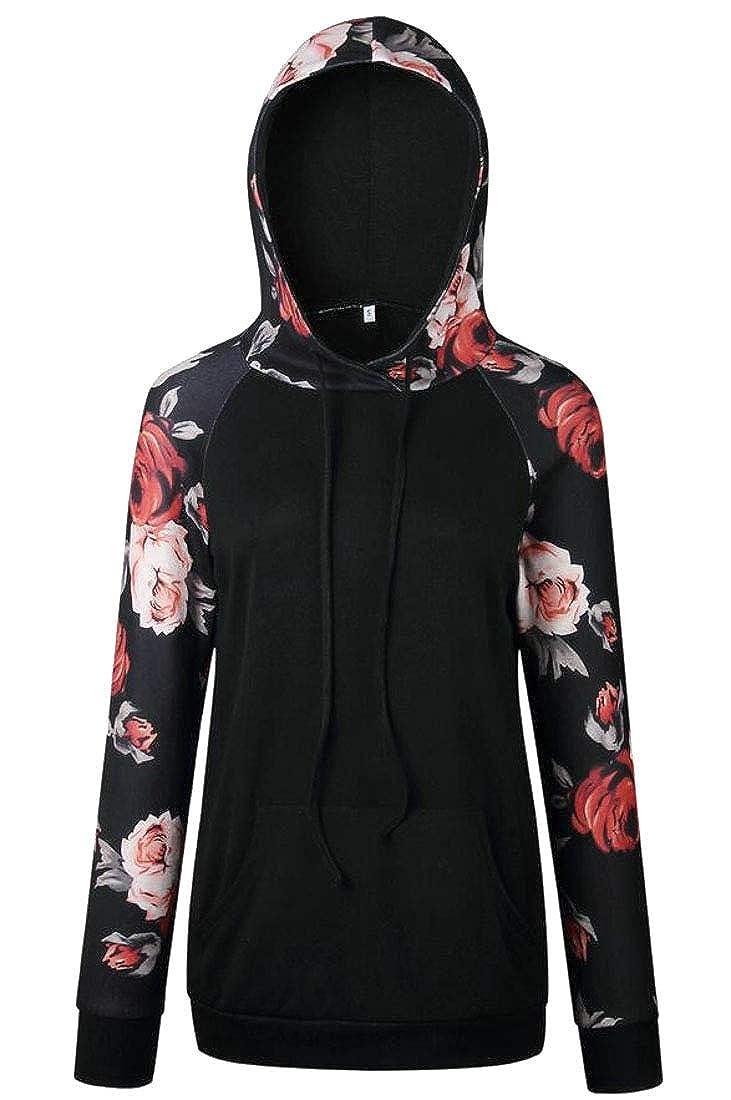 YYear Womens Floral Printted Pocket Raglan Sleeve Hoodie Sweatshirts