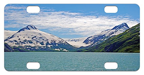 Landscape Mini License Plate by Lunarable, Mountain and Lake in Anchorage Alaska Springtime Sunny Day Scenic Picture, High Gloss Aluminum Novelty Plate, 2.94 L x 5.88 W Inches, White Green - Day Anchorage Kids